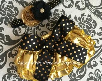 BLACK  and GOLD bloomer set, headband and chiffon ruffle diaper cover, black and gold polka dot set, shimery gold bloomers.