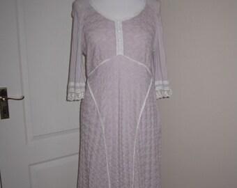 Cream Pink Lilac Crocheted Occasion Dress M US 10 UK 12 EU 40