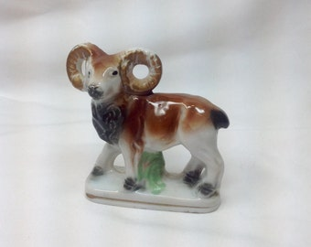 Vintage Ram Porcelain Figurine Brown Animal Horned Sheep Japan Knickknack Cake Top