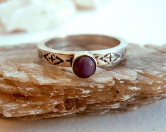 Gemstone Sterling Ring - Vintage Silver