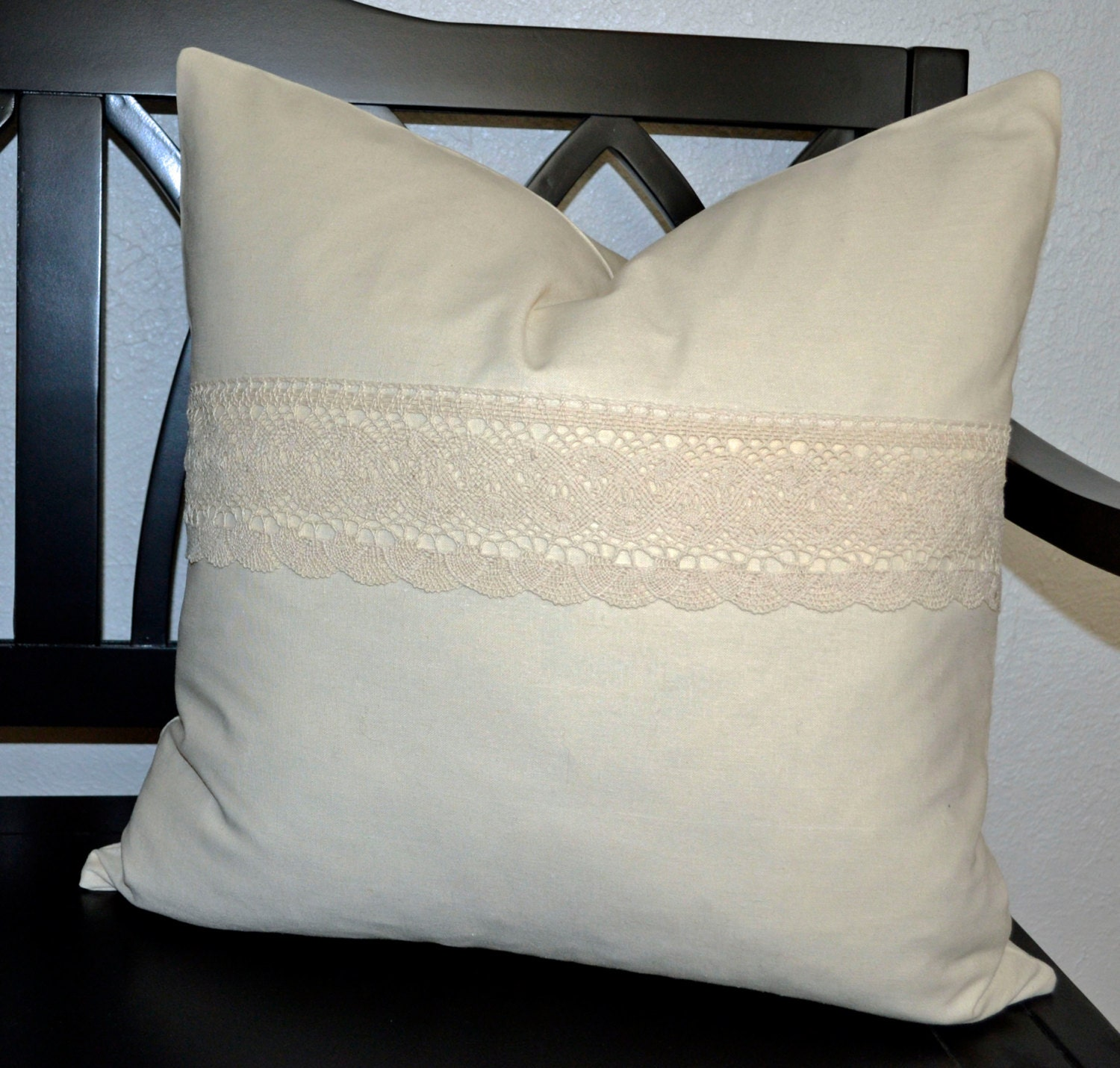 Ivory Lace Throw Pillow : 20 x 20 Pillow Cover Ivory Linen Pillow Cover Throw Pillow