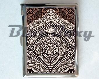 Vintage Brown Pattern Cigarette Case with Lighter, Cigarette Box, Card Holder