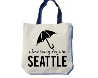 Rainy Seattle Tote Bag, Screen Printed, Black Ink, Thick Canvas Tote Bag