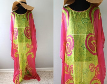 Printed Silk Chiffon long dress/ chiffon dress/ maxi dress / long/kaftan dress/Crystals.