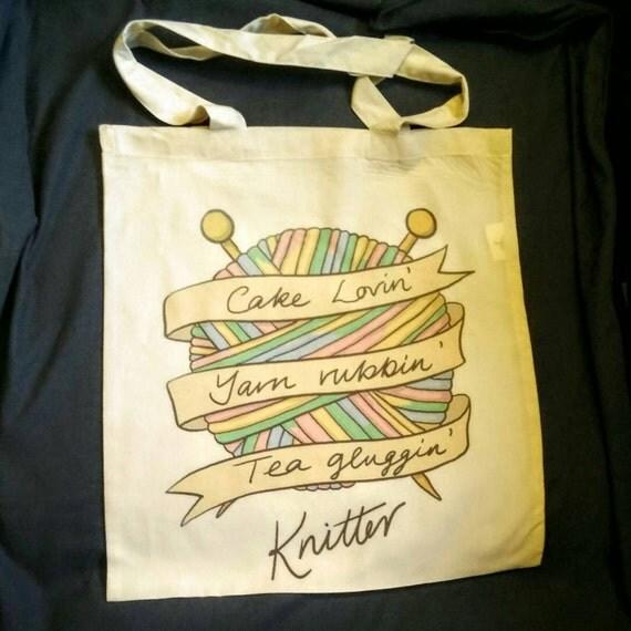 WIP/project bag - cake lovin', yarn rubbin', tea gluggin' knitter or hooker (both aavailable)