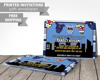 superhero baby shower invitation, superhero invitations, superhero onesie invitation, baby shower party invitations, batman baby shower