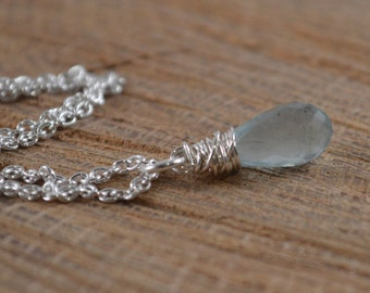 Aquamarine Faceted Briolette Sterling Silver Chain Necklace, Aquamarine Necklace, March Birthstone, Natural Aquamarine, Natural Gemstone