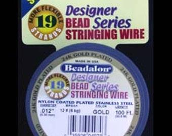 """Beadalon 19 .012"""" 100ft Spool Gold Plated (CD41912K-100)"""
