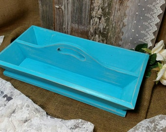 Caddy with Handle, Wooden Caddy, Shabby Chic Caddy, Turquoise Wooden Caddy, Turquoise, RobinsStudio, Shabby Chic, Vintage, Rustic, Recycled