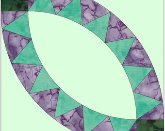 Pickle Dish 6 Points Double Wedding Ring Paper Templates Quilting Block Pattern PDF