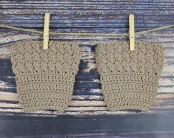 Boot Cuffs - Tan - Crochet