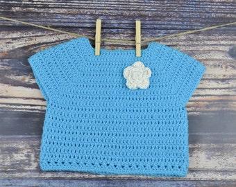 Blue Sweater - Toddler - Flower