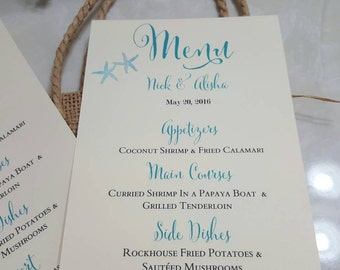Personalized Beach Wedding Menu, Menu, wedding menu, destination wedding menu
