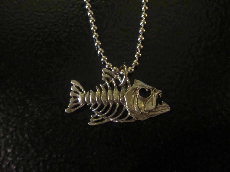 Bone fish skeleton fisherman 39 s pewter pendant necklace for Fish bone necklace