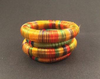 4 yellow silk thread wrap bracelet bangle india
