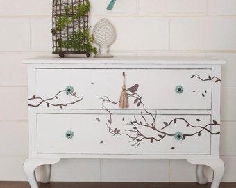 SOLD***** Newly Refurbished Vintage Oak White Drawers Dresser Queen Anne Birds