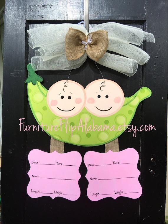 Twin baby wreathtwin baby door hanger twin baby announcement for Baby boy hospital door decoration