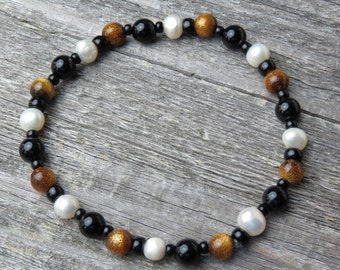 Onyx, Petrified Coral and Pearls Healing Stone Bracelet or Anklet!