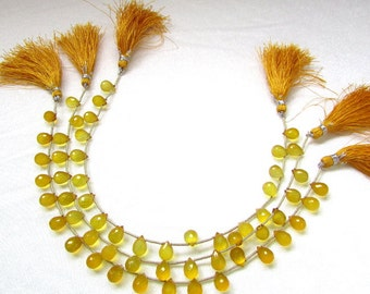 7X10 mm (19 pcs) YELLOW CHALCEDONY Faceted drops Gemstone..... with side drilled...