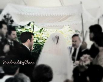 Ivory Chuppah with Lace Edge Hand-held Chuppah for Jewish Wedding Venetian Lace & CHUPPAH HUPPAH Jewish Wedding Canopy Custom Personalized