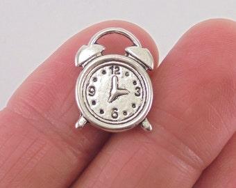 8 pc. Alarm Clock charm, 17x13mm, matte antique silver finish