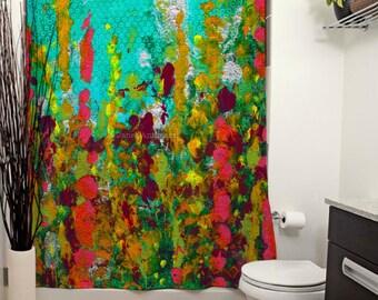 Green Garden Printed Shower Curtain, Floral Shower Curtain, Modern Art, Bathroom Decor, Curtain, Abstract Art, Painting, Art, Bright, Flower