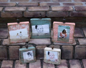 Beach block frame set; distressed picture frames; set of 5 block frames; cottage or beach house picture frames; beach house decor