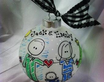 Deployed Military Split Scene Family PERSONALIZED Christmas Ornament