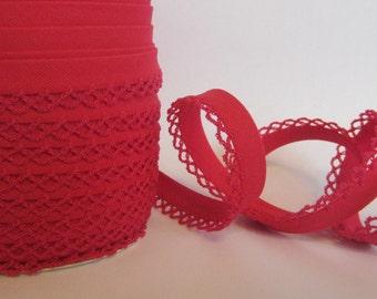 Bias binding with crocheted trim/crochet Red