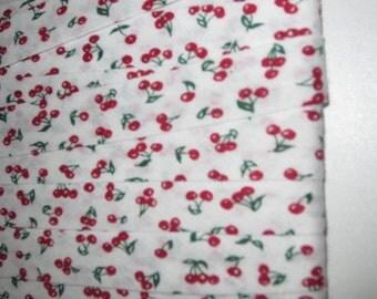 Cotton bias binding B = 20 mm white cherries