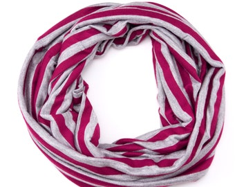 Jersey Infinity Scarf - Pink and Grey Stripes