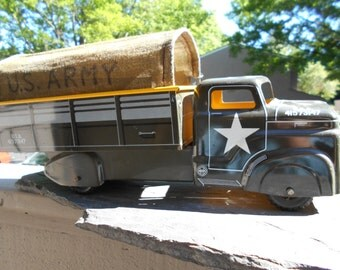 MarxToy Truck 41573147 Tin Litho  Fabric Covered Troop truck 14.75 inch by 5 inch