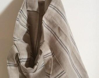 Handmade Soft Linen Tote - Linen Market Bag - Striped Tote