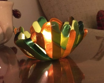 Fused glass dish mutlit color tea light holder, candy dish.