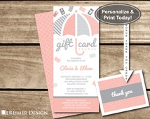 Gift Card Shower Invitation, Gift Card Baby Shower, Baby Shower, Girl, Umbrella, Pink, Gray, Blush, DIY Word Template, +Thank You Cards