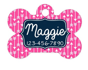 Custom Pet Tag - Pet ID Tag - Custom Dog Tag - Custom Pet ID Tag - Pink Geometric Navy Blue