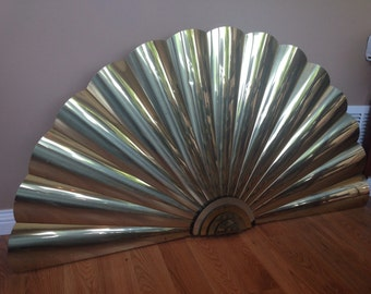 Extra Large 1980s Brass Wall Fan/ Sculpture Curtis Jere/ Wall Hanging