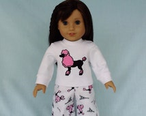 Paris Poodle and Eiffel Tower Pajamas and Optional Slippers for American Girl/18 Inch Doll
