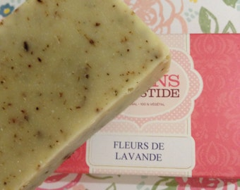 New!!! Exfoliating Lavender and sweet orange soap with flowers!