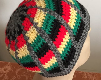 Colorful Crochetted Rasta Design Head Hugger