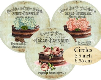 Circles 2.5 inch French Patisserie  Instant Download digital collage sheet C196 Circle Confiserie Cakes