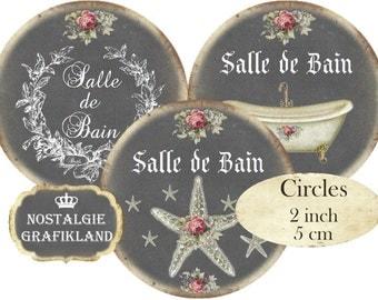 Salle de Bain Bath Bathroom Bathtub Le Bain Seashell Chalkboard Circles 2 inch Instant Download digital collage sheet C200