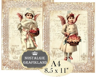 Shabby Chic Angels Victorian Cherubs Cupids Christmas Noel Lace A4 Instant Download digital collage sheet A109