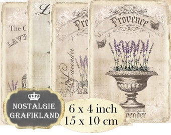 French Lavender Vintage Herbs Provence printable 6 x 4 inch Instant Download digital collage sheet D164