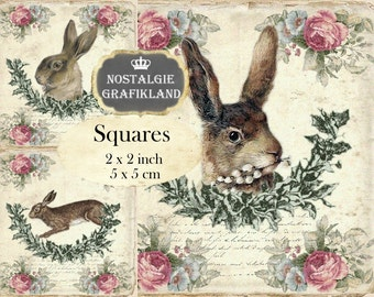 Rabbits Shabby Chic Easter Bunnies Bunny Hare Lapin 2x2 inch printable squares Instant Download digital collage sheet TW122