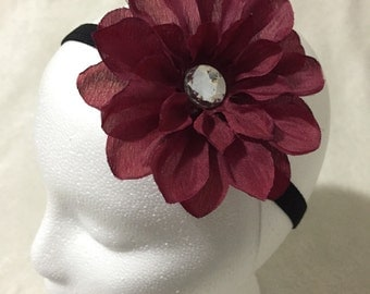 Burgundy silk flower hair clip
