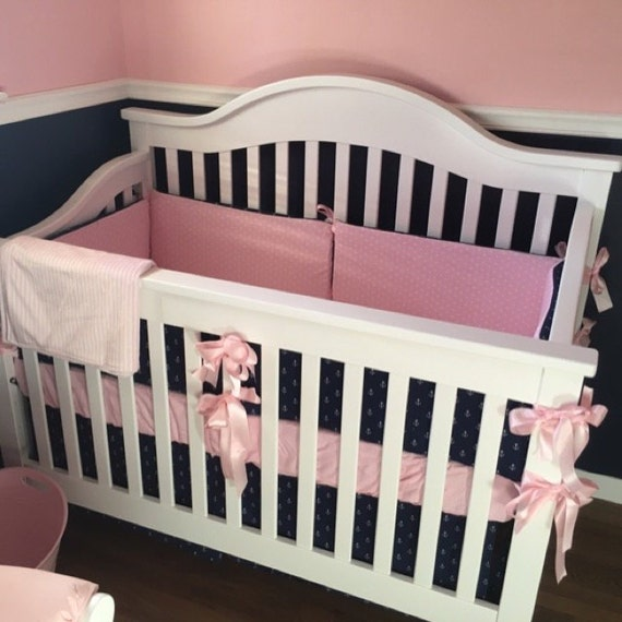 Nautical Infant Bedding: Nautical Baby Girl Crib Bedding SET Pink Navy Anchors