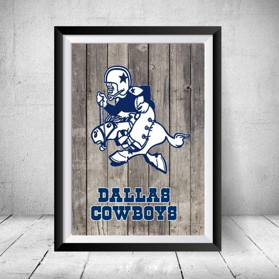 Dallas Cowboys Welcome Home Sign: 1960 Vintage Dallas Cowboys Inagural Jersey Logo Poster Man