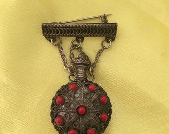 Vintage Israeli Silver Filigree Perfume Bottle Brooch