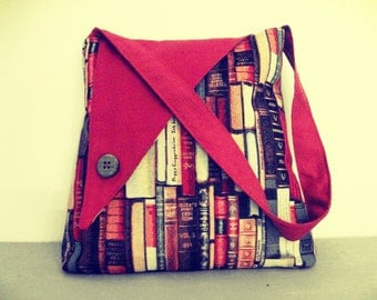 Arabesque Bags - Red handmade Shoulder bag - gobelin with books